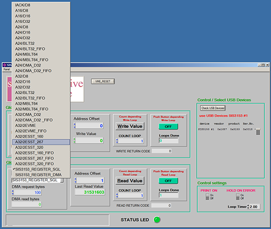 SIS3153 Base Panel USB Screenshot